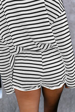 Load image into Gallery viewer, Gray Striped Lounge Long Sleeves Shorts Set