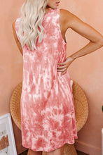 Load image into Gallery viewer, Orange Tie Dye Knit Tank Dress
