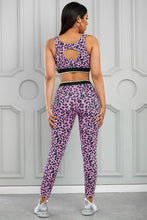 Load image into Gallery viewer, Pink Leopard Print Active Bra Pants Yoga Set