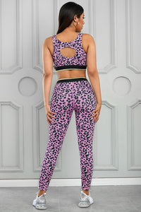Pink Leopard Print Active Bra Pants Yoga Set
