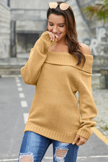 Khaki Turn-down Collar Show Shoulder Ribbed Sweater