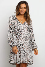 Load image into Gallery viewer, White Leopard Print V Neck Long Sleeves Mini Dress