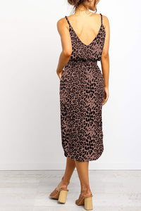 Black Stylish Leopard Printed Midi Dress