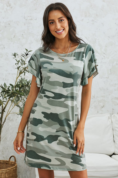 Green Pile Of Sleeves Camouflage Dress