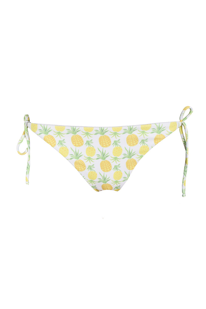 Pineapple Print Tie Bikini Bottoms in White, Size Small