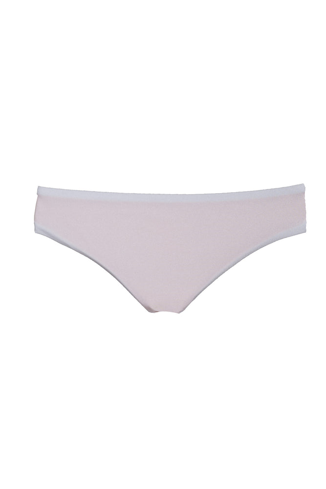 Reversible Safari Cheeky Bikini Bottoms in White & Peach, Size Small