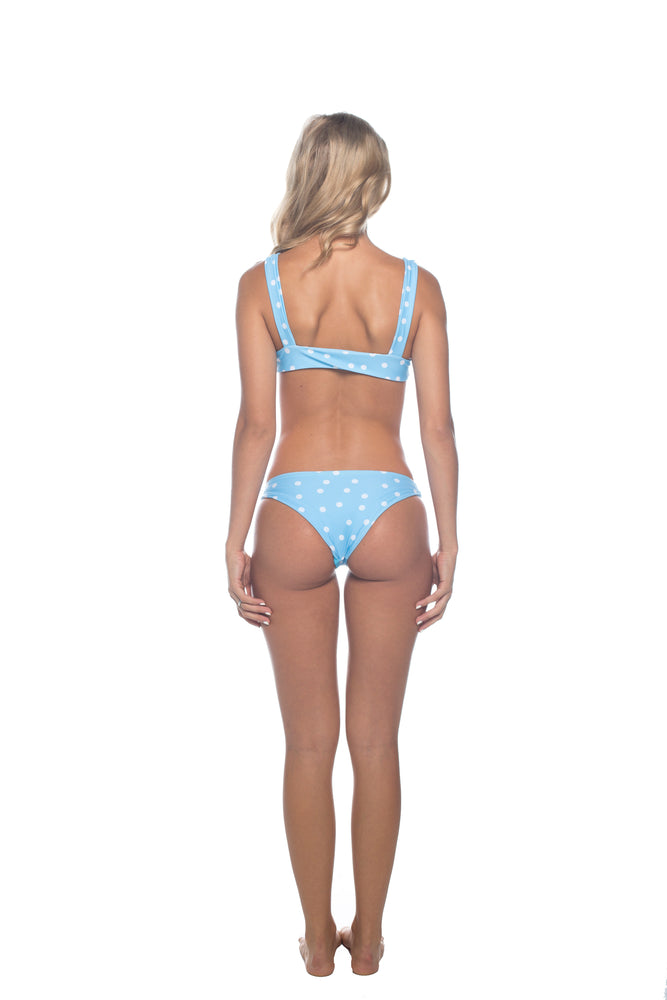 Polka Dot - Blue & White Cheeky Cut  Bikini Bottoms