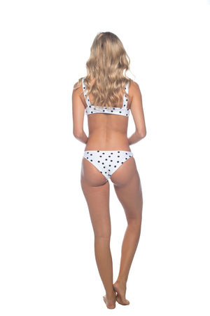 Polka Dot - Black & White Tie Up Bikini Top
