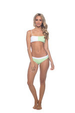 Poppy - Green & White Bandeau Bikini Set