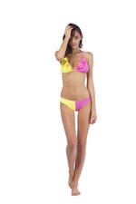 Milkshake Triangle Bikini Top in Yellow & Pink, Size Medium