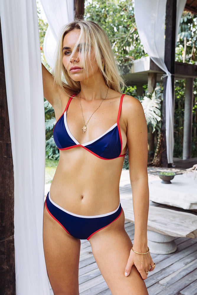 Ava - Navy With Red & White Detail Bikini Separates