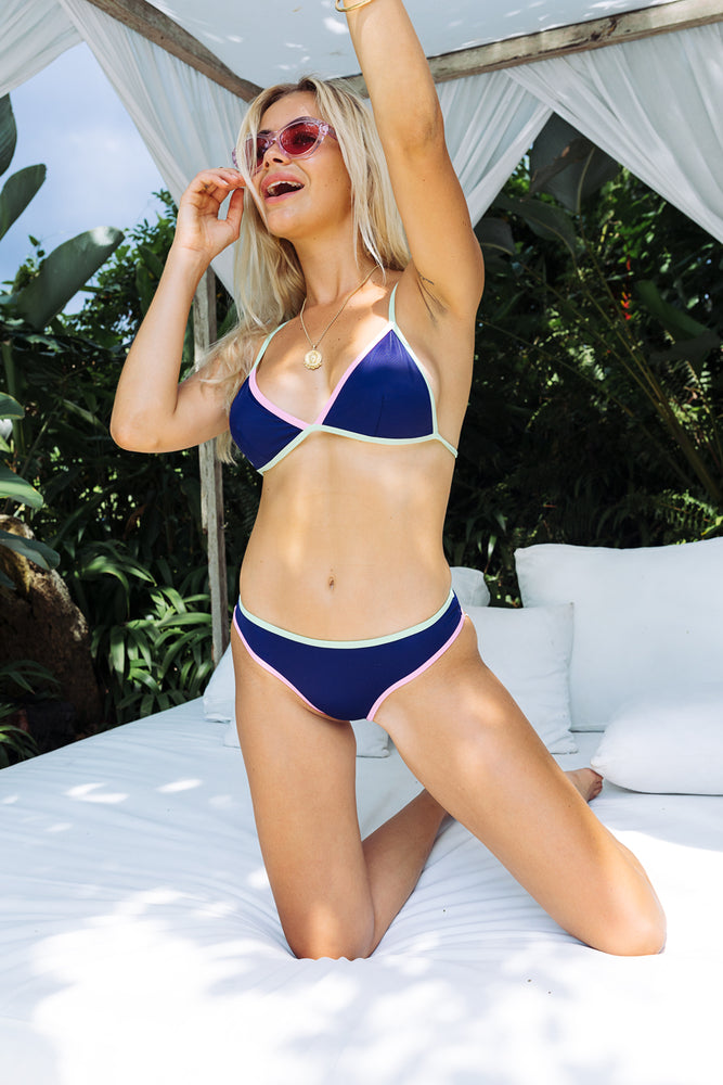 Ava - Navy With Pink & Green Detail Bikini Separates