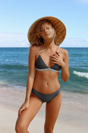 Mesh - Charcoal Cheeky Cut Bikini Bottoms