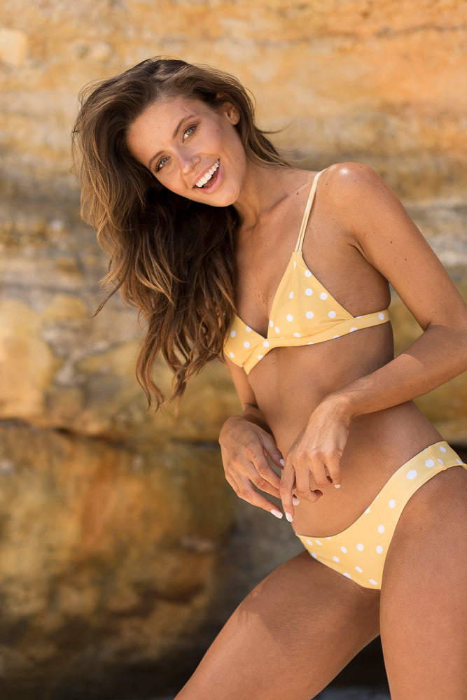 Safari Polka Dot Cheeky Bikini Bottoms in Yellow, Size Small