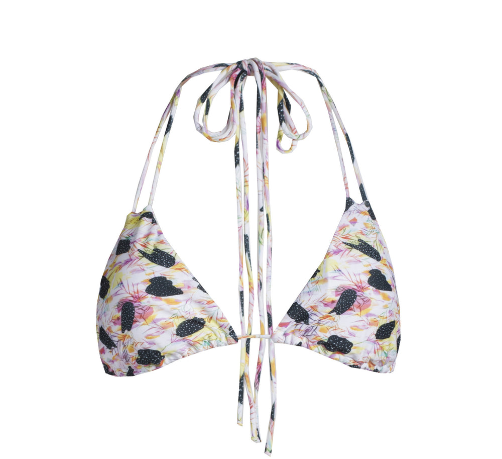 Palm Triangle Bikini Top in Feather Print, Size Medium