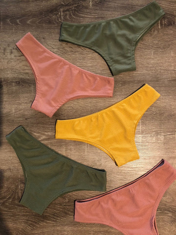 Ribbed - Earth Toned Cheeky Cut Bikini Bottoms