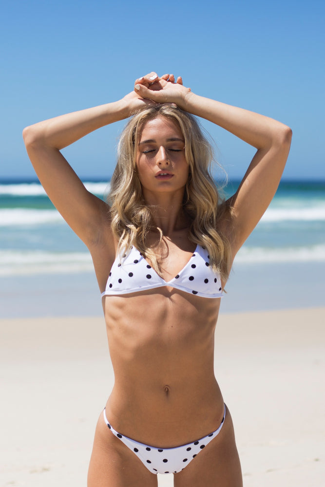 Polka Dot - Black & White String Bikini Bottoms