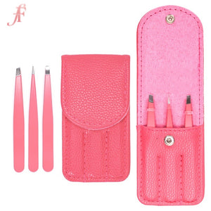 3 piece tweezer set - hot pink