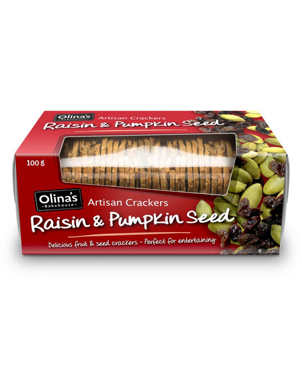 Olinas Raisin And Pumpkin Seed Crackers 100g
