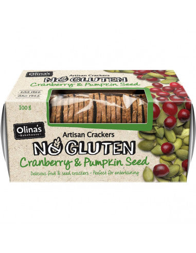 Olinas Cranberry And Pumpkin Seed Crackers Gluten Free 100g