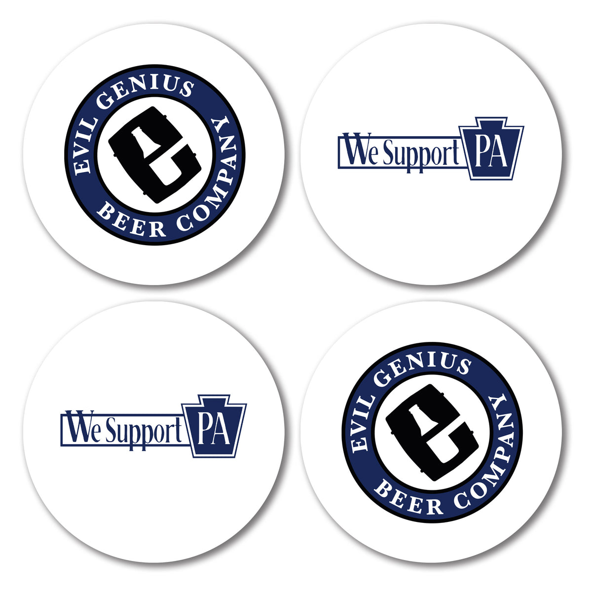 Evil Genius Beer Company We Support PA Coasters