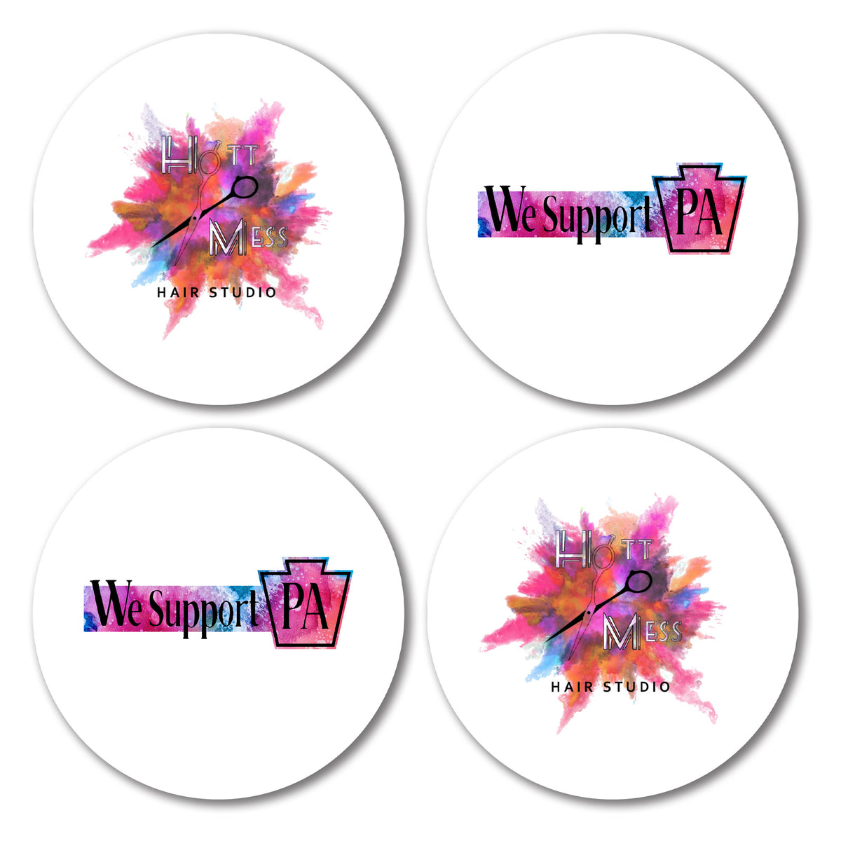 Hot Mess Hair Studio We Support PA Coasters