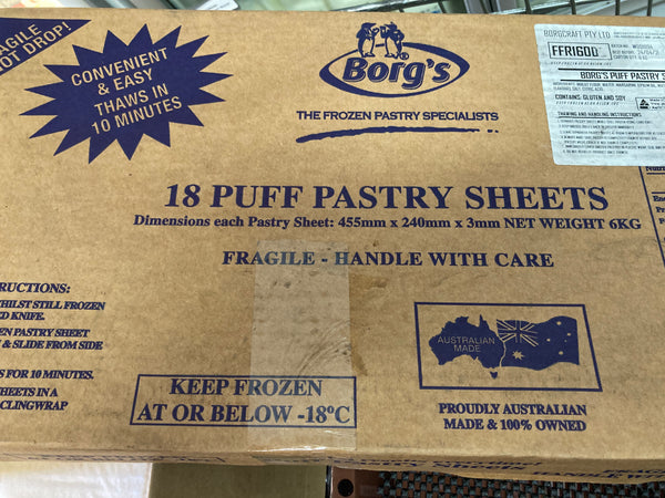 # BORGS Puff Pastry 18 Sheets 455mm x 240mm x 3mm