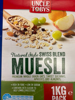 UNCLE TOBYS Muesli Natural Style Breakfast Cereal Natural Swiss 1kg