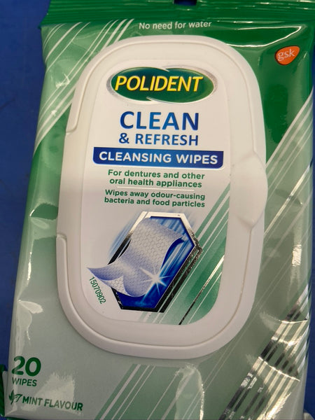 COLES Polident Wipes Cleaner Pack 18 x Wipes