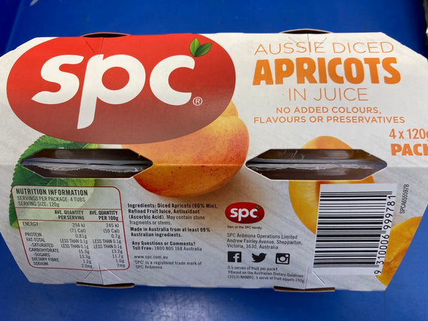 SPC Diced Apricots in Juice Cups 4 x 120g
