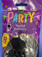 Black Party Round Balloons 12pcs