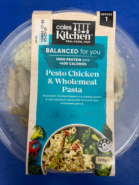 # COLES Balanced Pesto Chicken with Wholemeal Pasta 320g