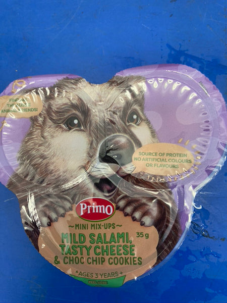 # Primo Mini Mix Up contains mild salami tasty cheese and choc chip cookies 35g