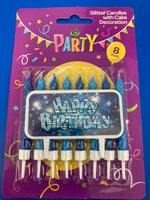 Glitter Candles with Decoration 8 pack