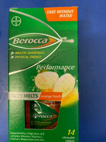 BEROCCA Fizzy Melts Chewable Tablets Orange Flavour 14 tablets