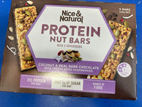 NICE & NATURAL Protein Nut Bar Coconut, Dark Chocolate With Raspberries 165G