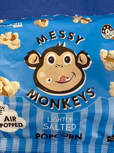MESSY MONKEYS Popcorn Air Popped Lightly Salted 130g