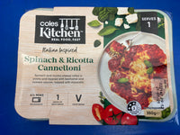 # COLES KITCHEN Spinach and Ricotta Cannelloni