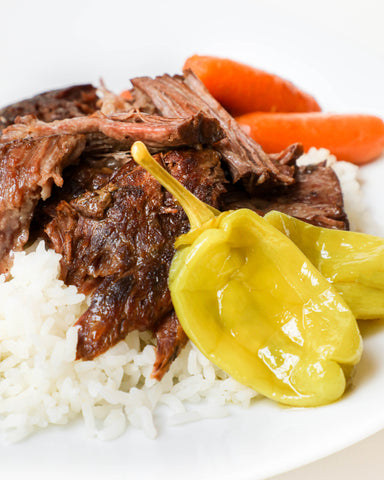 brown gravy pot roast recipe with carrots and peppers from the cajun spoon louisiana seasoning products