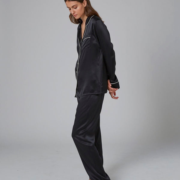 Silk Pajamas with Contrast Piping - Black/Ivory