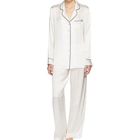 Silk Pajamas with Contrast Piping - Ivory/Black