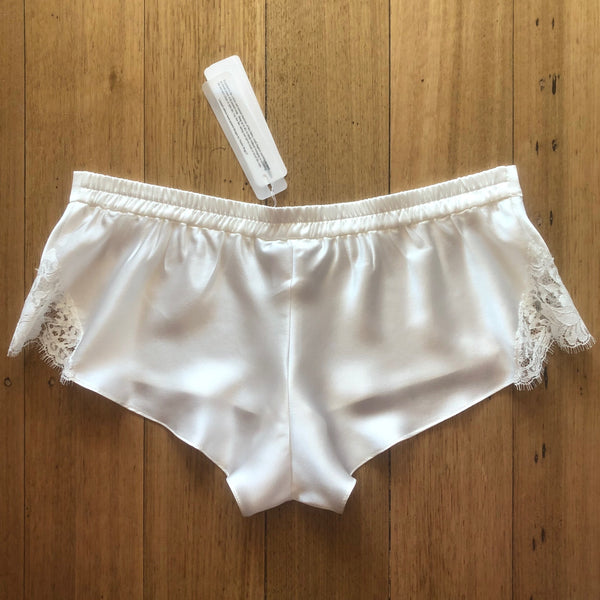 Silk Shorts with Lace Trim - Ivory