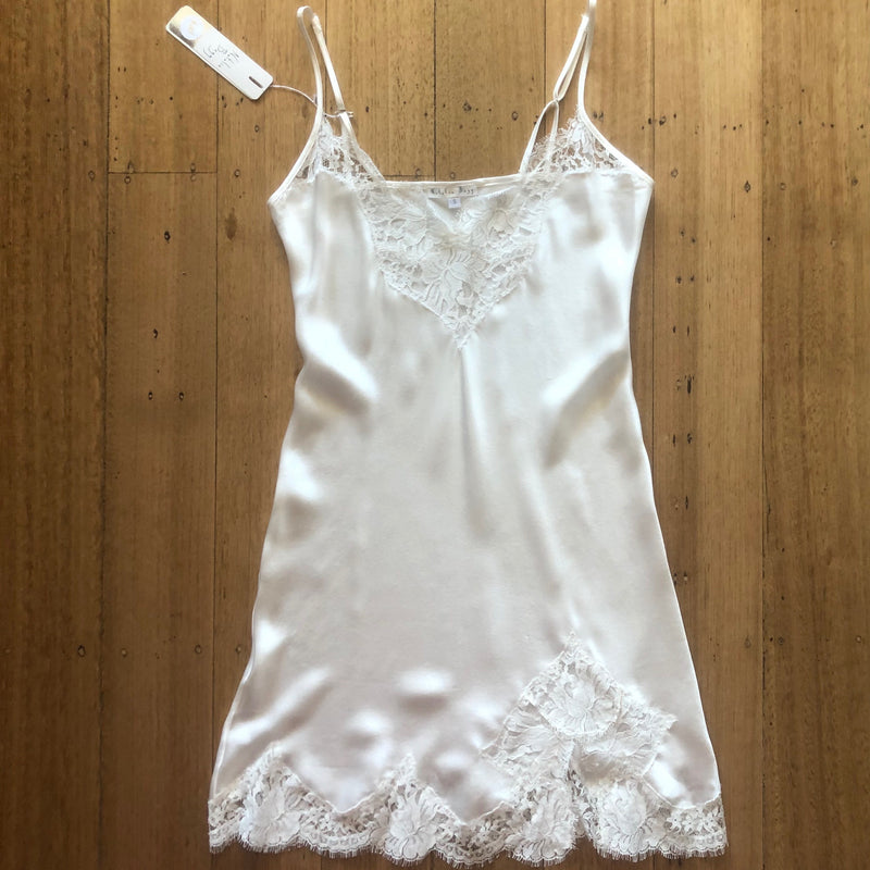 Silk Slip with Lace Trim - Ivory
