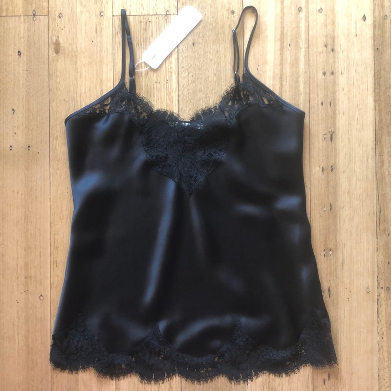 Silk Camisole with Lace Trim - Black