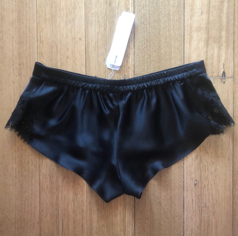 Silk Shorts with Lace - Black