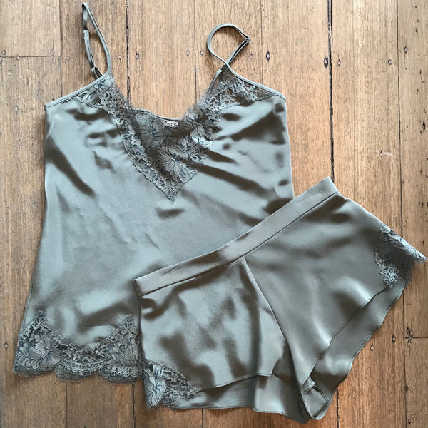 Silk Shorts with Lace Trim - Khaki