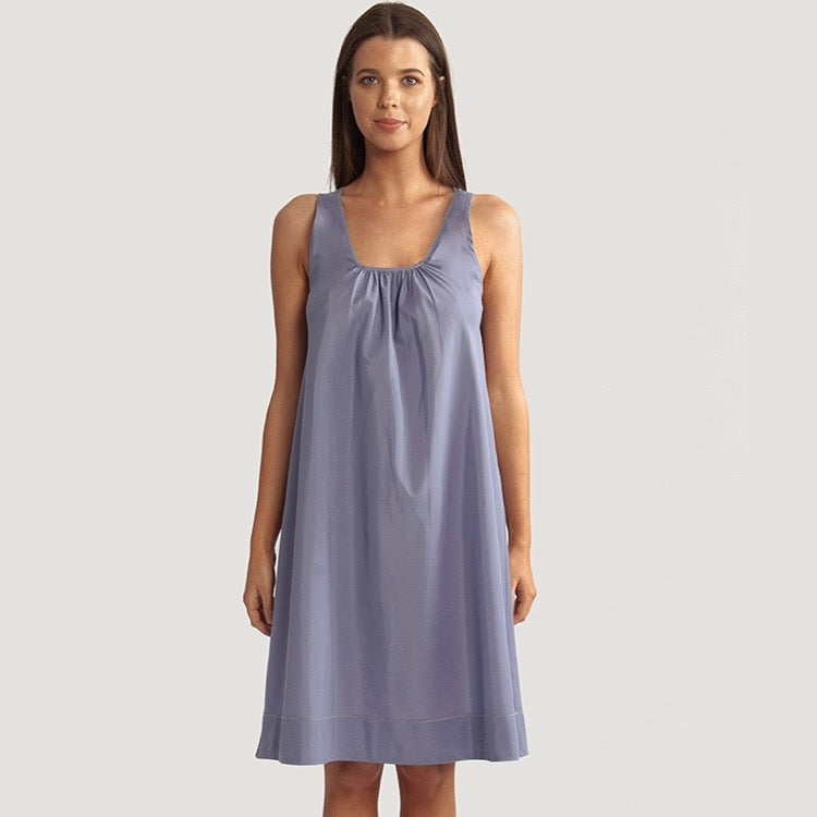 Cotton Silk Tank Nightie - Indigo