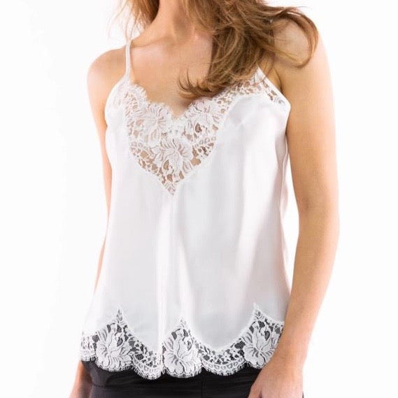 Silk Camisole with Lace Trim - Ivory