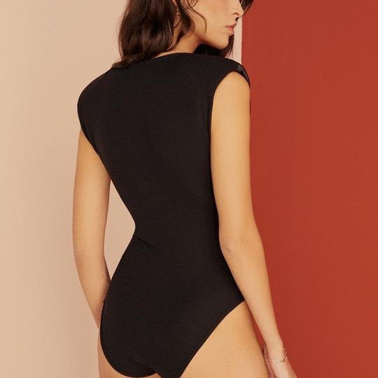 Gisele Power-Shoulder Silk Wrap Bodysuit