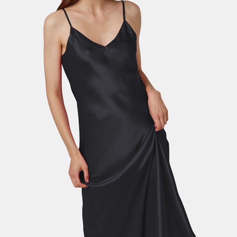 Silk V Neck Long Nite - Black